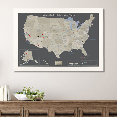 Earth Toned National Parks USA Travelers Map with Pins
