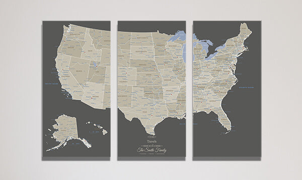 3 Panel Earth Toned USA Canvas Map