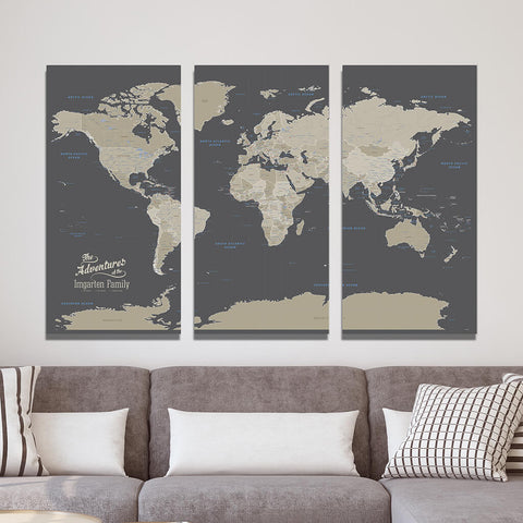 3 Panel Gallery Wrapped Earth Toned World Pin Map