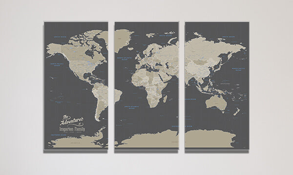 3 Panel Earth Toned World Canvas Map