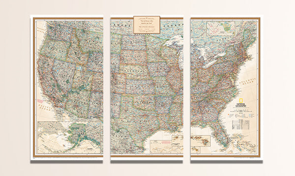3 Panel Executive USA Canvas Map