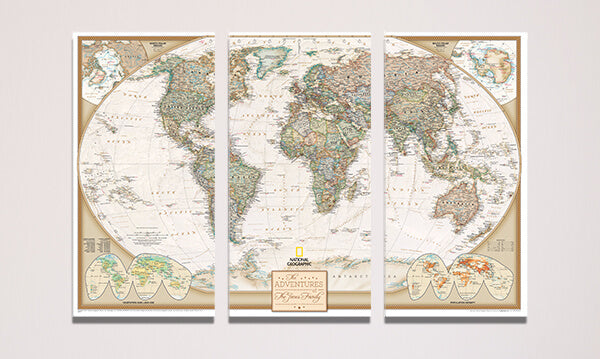 3 Panel Executive World Gallery Wrapped Canvas Map