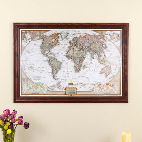 Executive World Wall Map with Pins, Solid Wood Cherry Frame