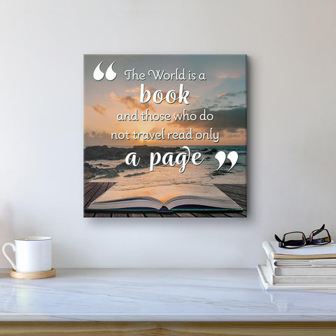 The World is A Book quote art on canvas - home decor