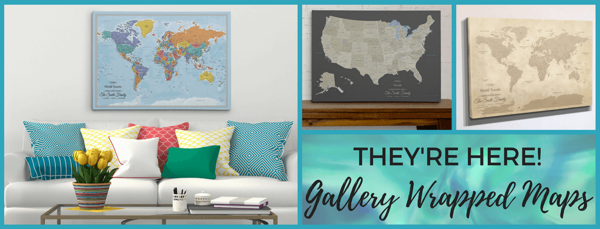 Framed and personalized world travel maps with pins push pin maps gallery wrapped maps are here gumiabroncs Images