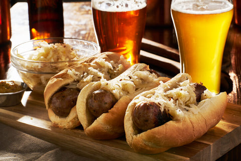 Traditional German bratwursts and beer