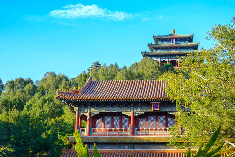 Famous Building in Jingshan Park. Located in Beijing, China
