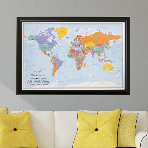 Blue Oceans World Travel Map with Pins