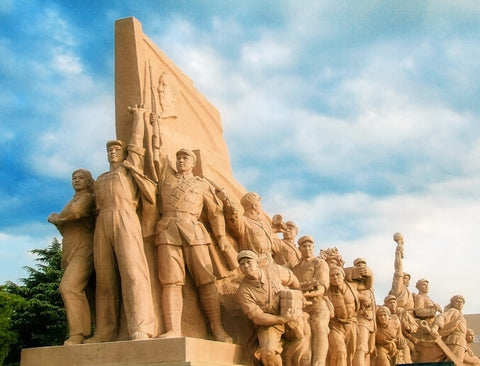 Red Army Statues at Mao's Mausoleum on Tiananmen Square, Beijing, China