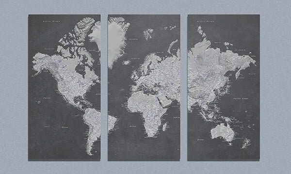 3 Panel Stormy Dreams World Canvas Map