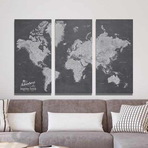 Canvas Panel Map with Pins - Stormy Dreams World Map