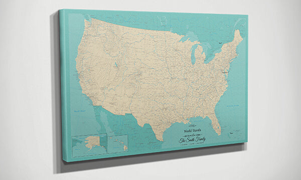 Teal Dream USA Map Side View