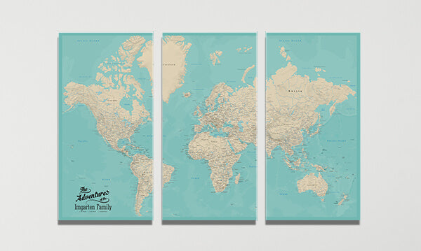 3 Panel Teal Dream World Canvas Map
