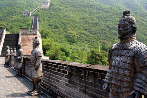 Terracota soldiers guard the Great Wall of China
