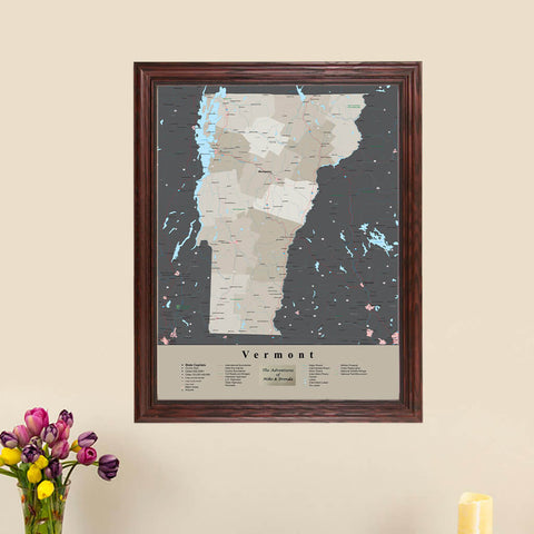 Vermont State Push Pin Travel Map - With pins