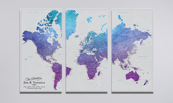 3 Panel Vibrant Violet World Canvas Map