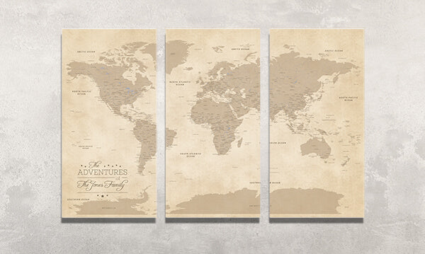 3 Panel Vintage World Canvas Map