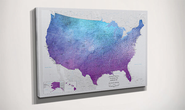 Vibrant Violet USA Map Side View