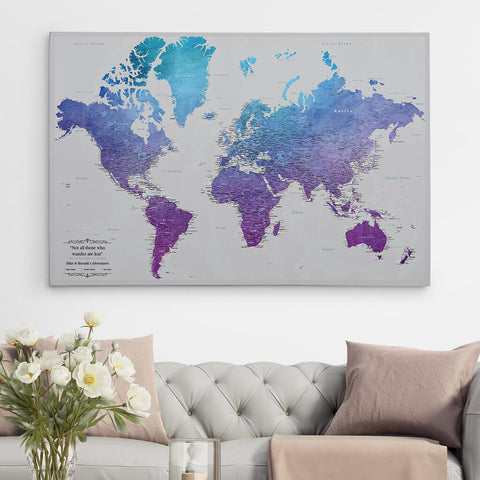 Extra Large 30X45 Gallery Wrapped Canvas World Map
