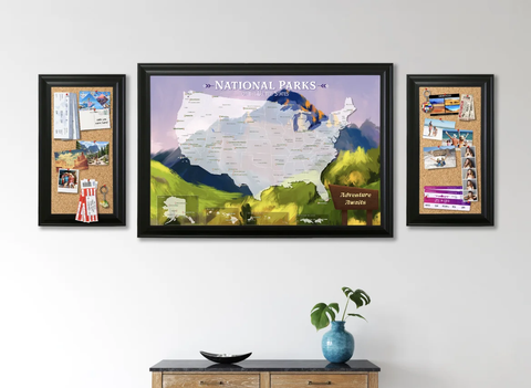 Watercolor National Parks of the US Map with Matching Cork Memo Boards