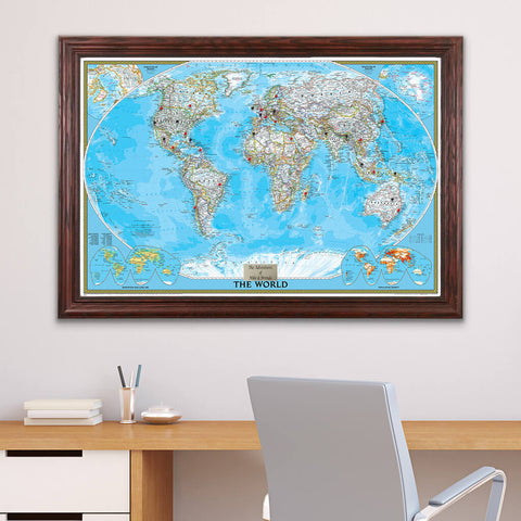 Classic World Travel Map with Pins