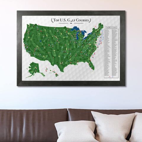 Framed Canvas Golf Course Map in Rustic Black Frame