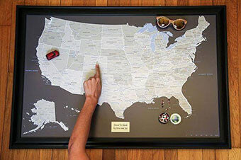 Earth Toned USA Push Pin Travel Map
