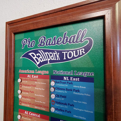 Closeup of Baseball Sports Pins on Baseball Bucket List Tracker