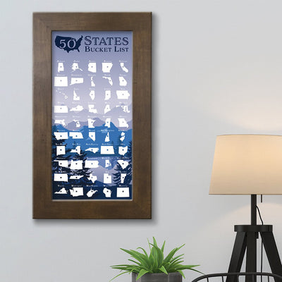 50 States Bucket List Tracker Rustic Brown Frame