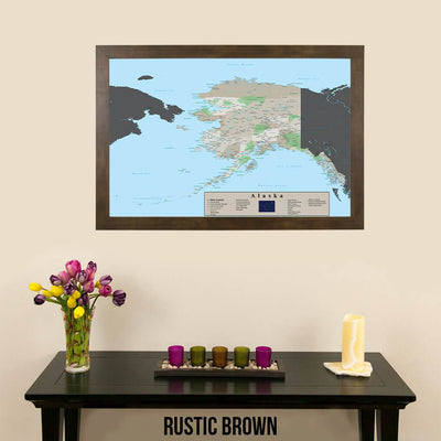 Earth Toned Alaska State Map Rustic Brown Frame