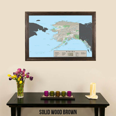 Earth Toned Alaska State Map Solid Wood Brown Frame