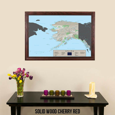 Earth Toned Alaska State Map Solid Wood Cherry Frame
