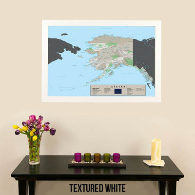 Earth Toned Alaska State Map Textured White Frame