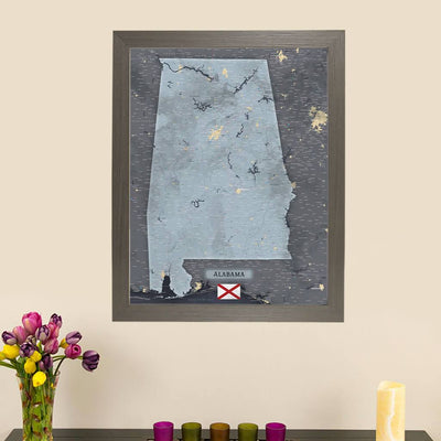Push Pin Travel Maps Framed Alabama Slate Wall Map with Pins Main Image
