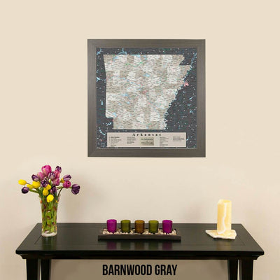 Pin Map of Arkansas in Barnwood Gray Frame