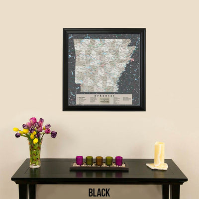 Arkansas State Map in Black Frame