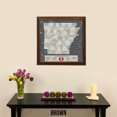 Arkansas State Map in Brown Frame