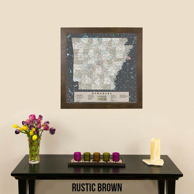 Travel Pin Map of Arkansas in Rustic Brown Frame