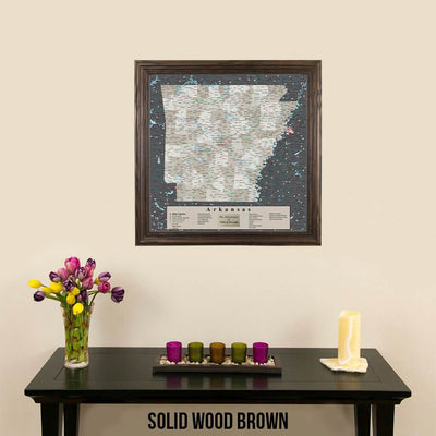 Pin Map of Arkansas in Solid Wood Brown Frame