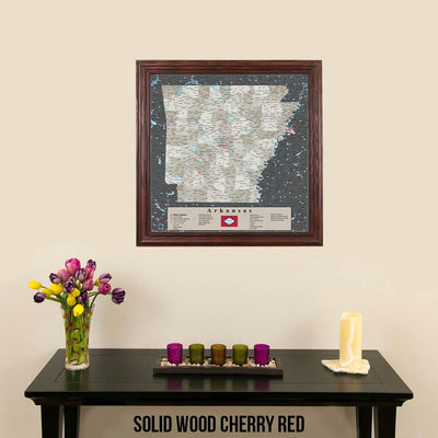 Pin Map of Arkansas in Solid Wood Cherry Red Frame