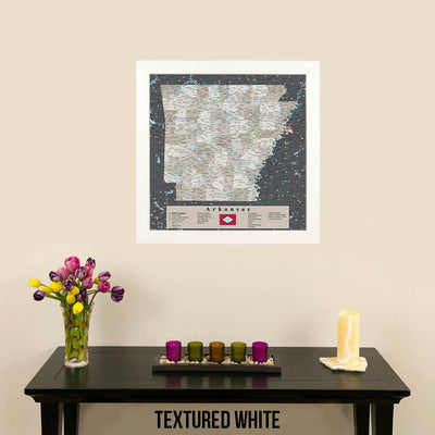 State Map of Arkansas in Textured White Frame