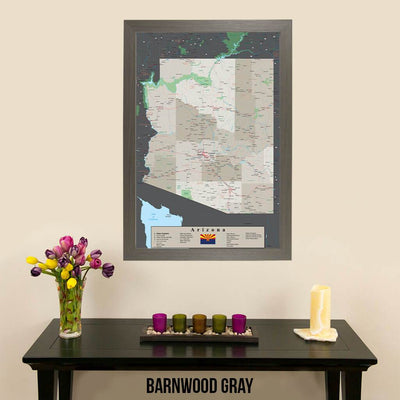 Earth Toned Arizona State Map Barnwood Gray Frame