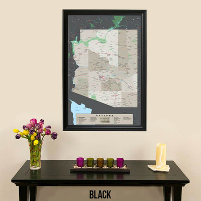 Earth Toned Arizona State Map in Black Frame