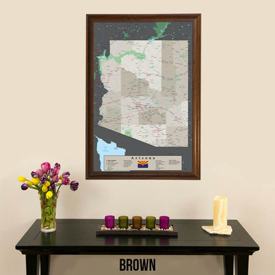 Earth Toned Arizona State Map Brown Frame