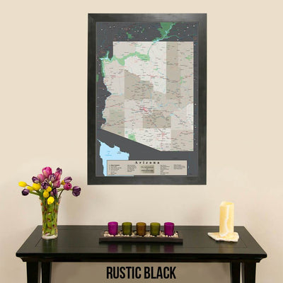 Earth Toned Arizona State Map Rustic Black Frame