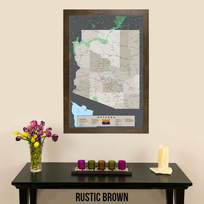 Earth Toned Arizona State Map Rustic Brown Frame