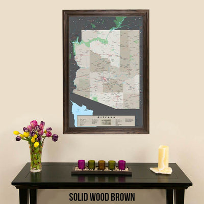 Earth Toned Arizona State Map Solid Wood Brown Frame