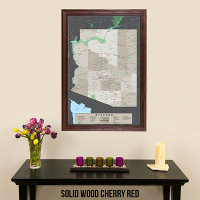 Earth Toned Arizona State Map Solid Wood Cherry Frame