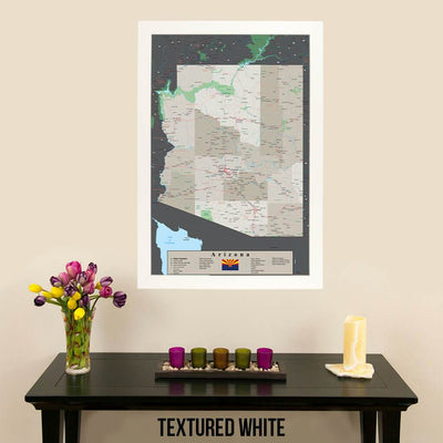 Earth Toned Arizona State Map Textured White Frame