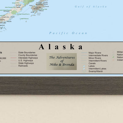 Earth Toned Alaska State Map personalized plaque location